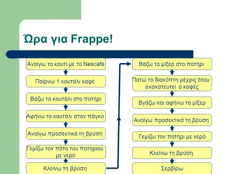 Ώρα για Frappe! Ανοίγω το κουτί με το Nescafe Βάζω το μίξερ στο ποτήρι