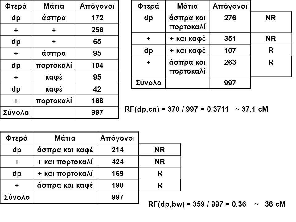 Φτερά Μάτια. Απόγονοι. dp. άσπρα. 172. + 256. 65. 95. πορτοκαλί. 104. καφέ. 42. 168. Σύνολο.