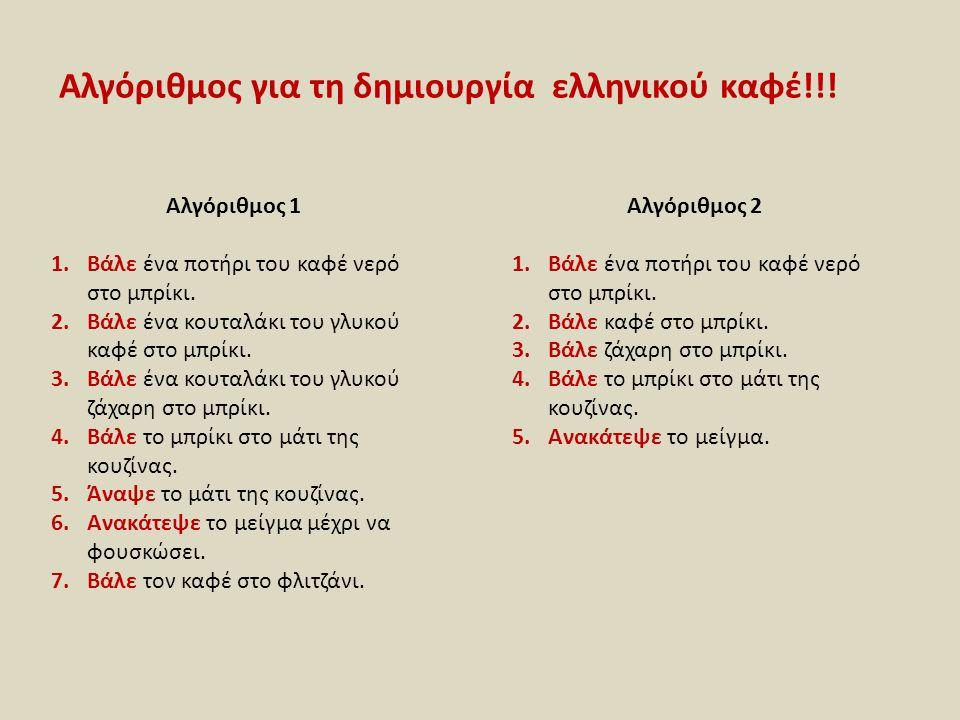 Αλγόριθμος για τη δημιουργία ελληνικού καφέ!!!