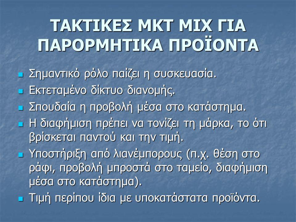 ΤΑΚΤΙΚΕΣ ΜΚΤ MIX ΓΙΑ ΠΑΡΟΡΜΗΤΙΚΑ ΠΡΟΪΟΝΤΑ