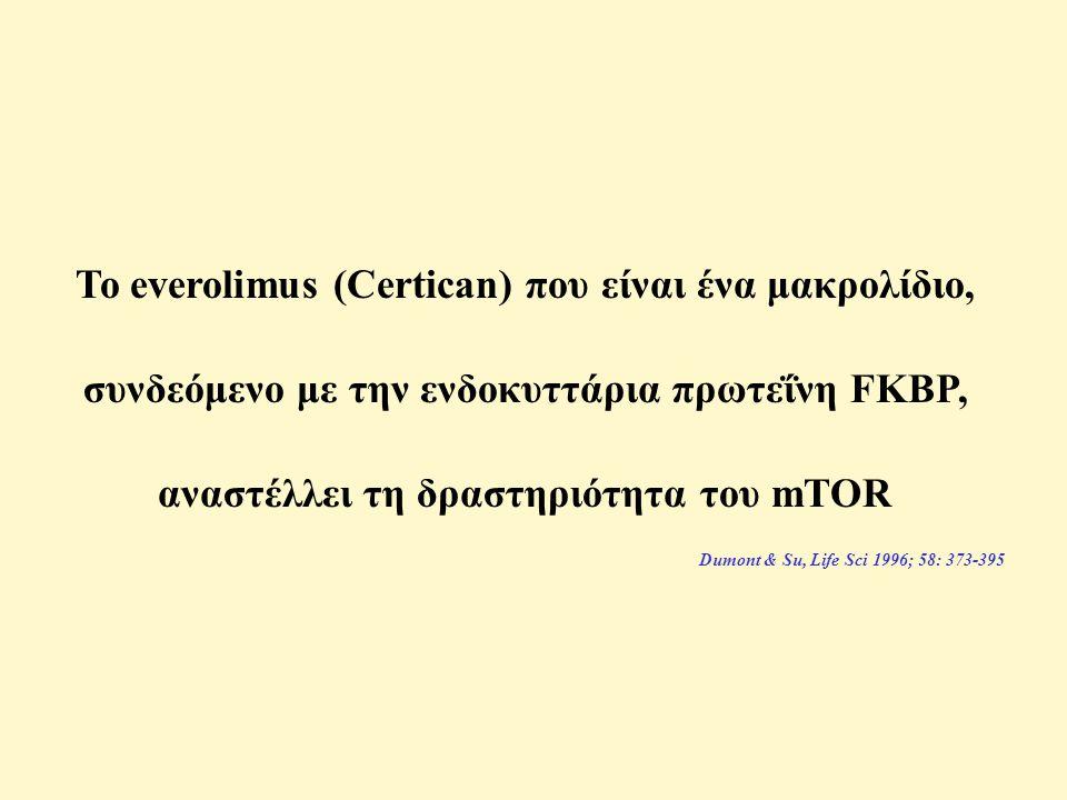 Το everolimus (Certican) που είναι ένα μακρολίδιο, συνδεόμενο με την ενδοκυττάρια πρωτεΐνη FKBP, αναστέλλει τη δραστηριότητα του mTOR