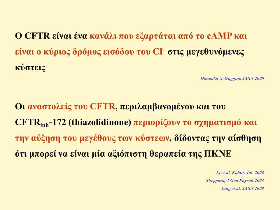 Ο CFTR είναι ένα κανάλι που εξαρτάται από το cAMP και είναι ο κύριος δρόμος εισόδου του CI- στις μεγεθυνόμενες κύστεις