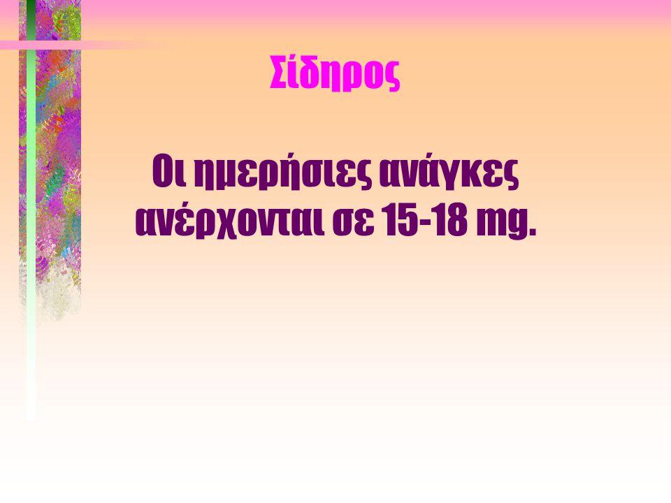 Σίδηρος Οι ημερήσιες ανάγκες ανέρχονται σε 15-18 mg.