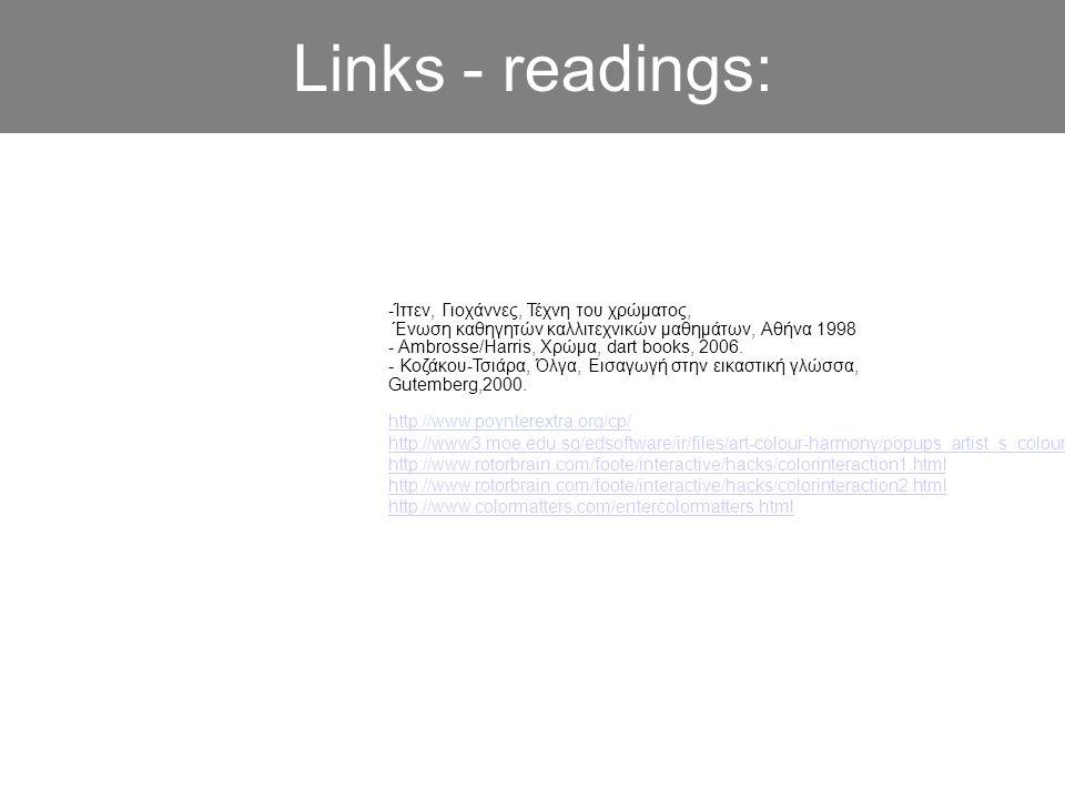 Links - readings: -Ίττεν, Γιοχάννες, Τέχνη του χρώματος, Ένωση καθηγητών καλλιτεχνικών μαθημάτων, Αθήνα 1998.