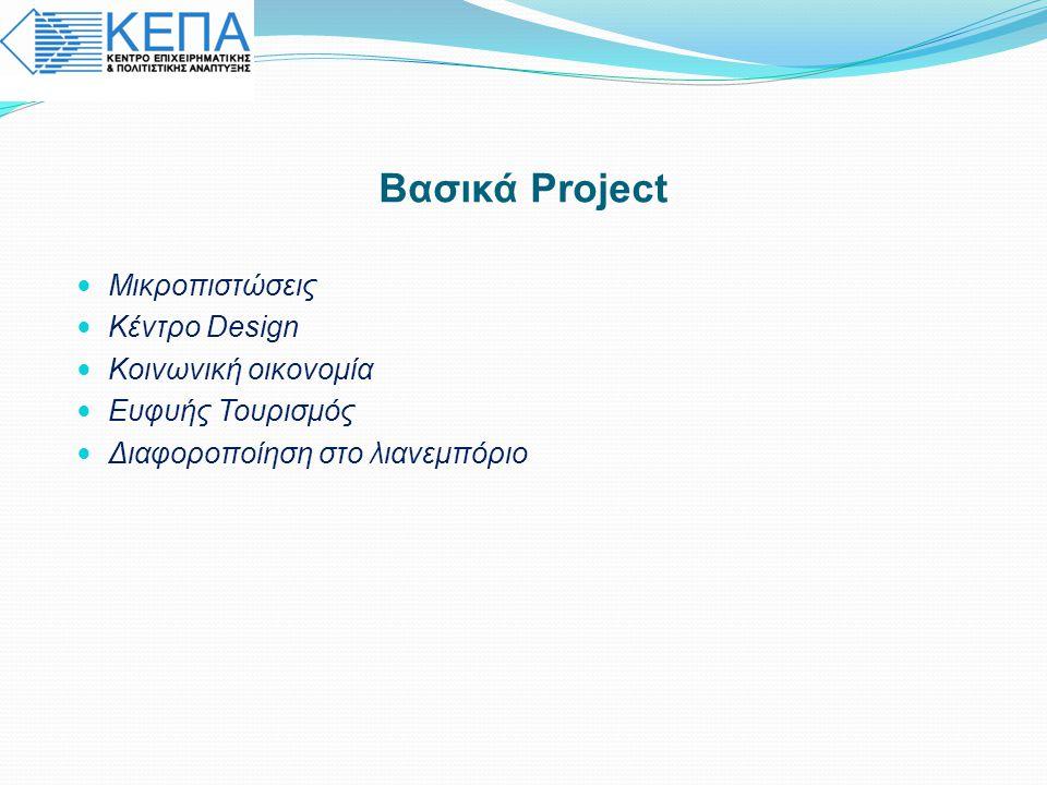 Βασικά Project Μικροπιστώσεις Κέντρο Design Κοινωνική οικονομία