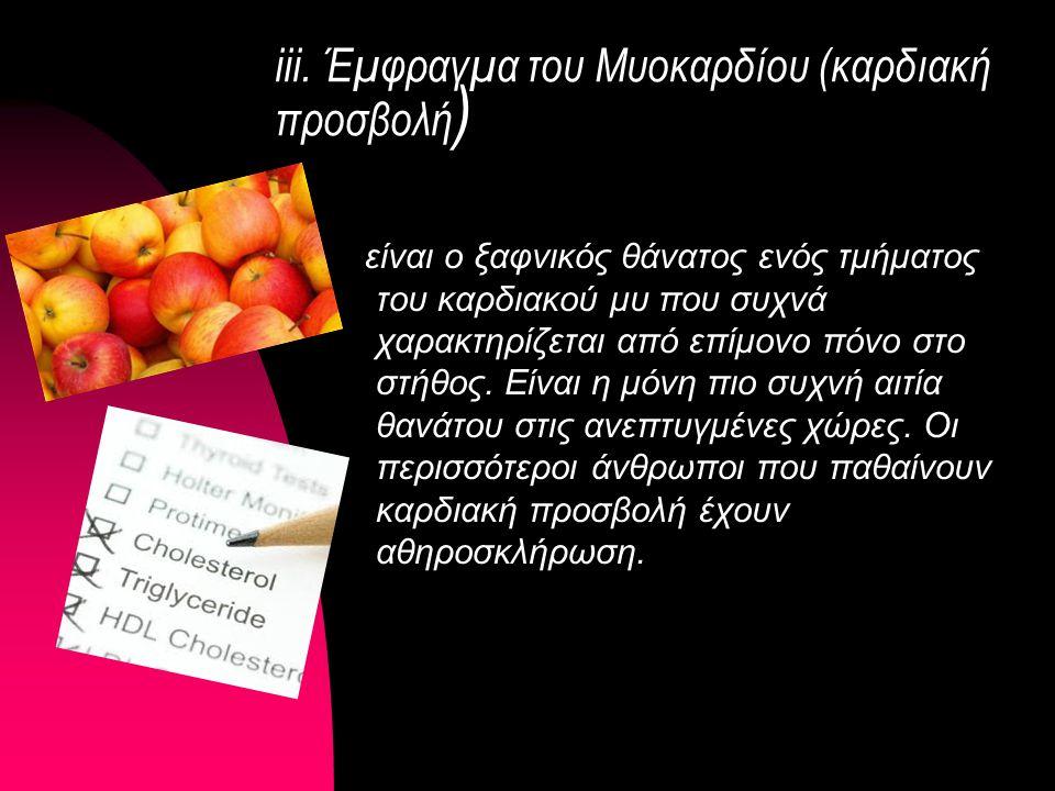 iii. Έμφραγμα του Μυοκαρδίου (καρδιακή προσβολή)