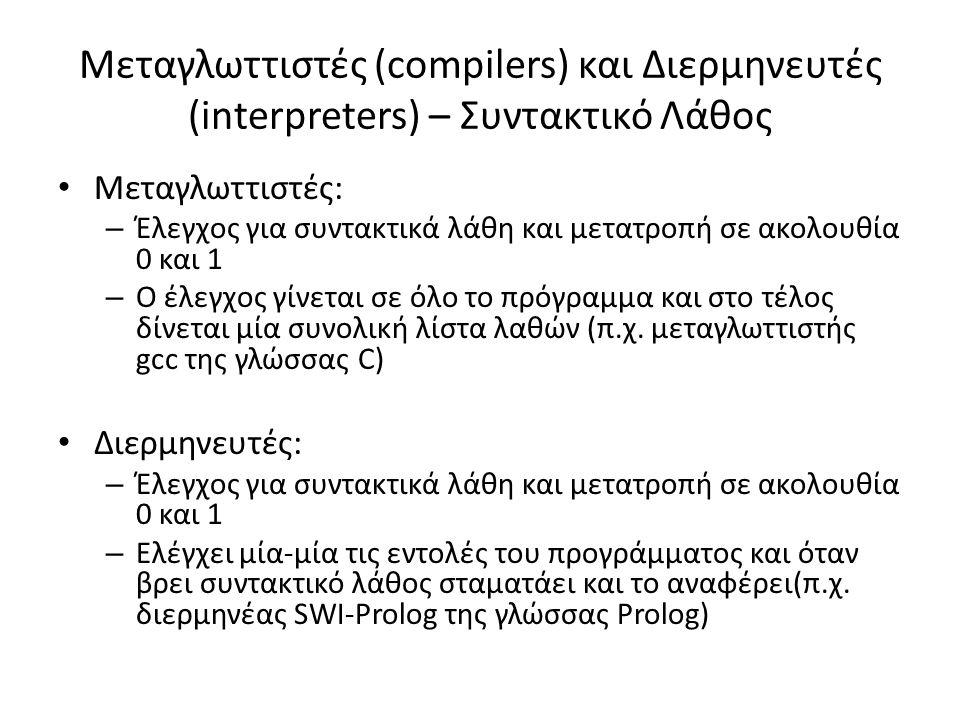 Μεταγλωττιστές (compilers) και Διερμηνευτές (interpreters) – Συντακτικό Λάθος