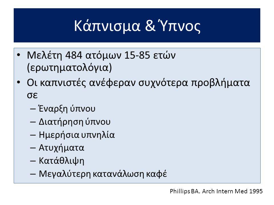 Κάπνισμα & Ύπνος Μελέτη 484 ατόμων 15-85 ετών (ερωτηματολόγια)