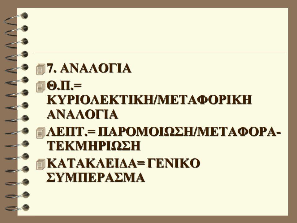 7. ΑΝΑΛΟΓΙΑ Θ.Π.= ΚΥΡΙΟΛΕΚΤΙΚΗ/ΜΕΤΑΦΟΡΙΚΗ ΑΝΑΛΟΓΙΑ.