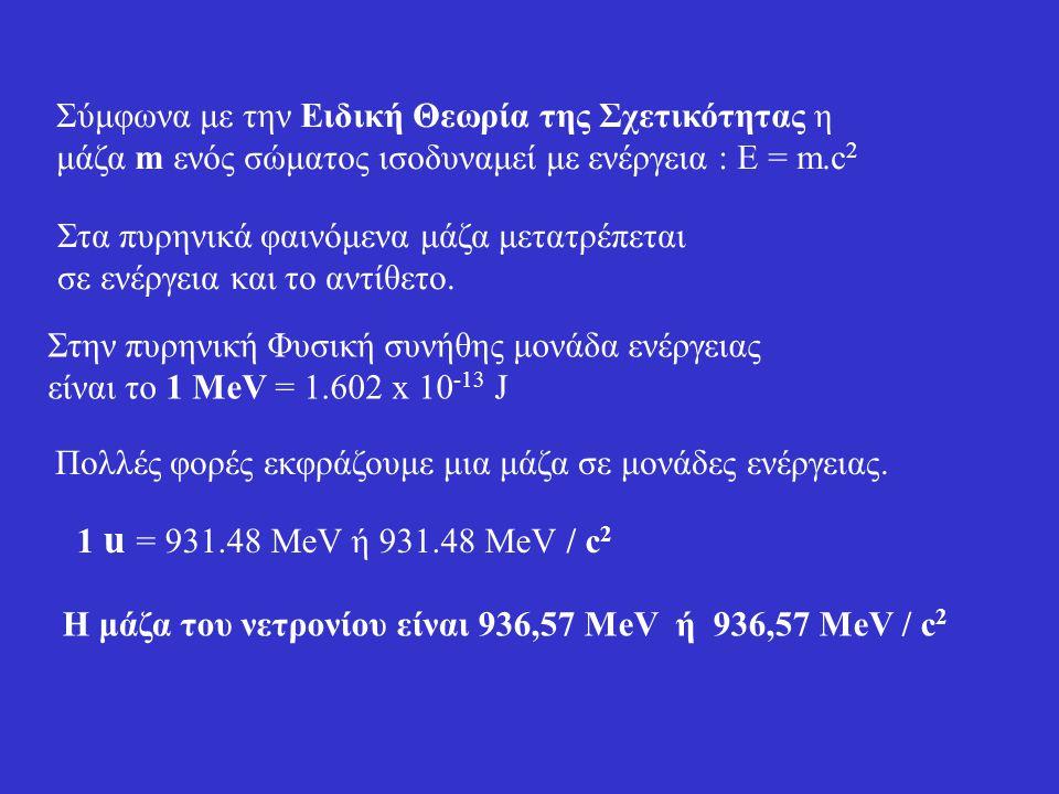 Η μάζα του νετρονίου είναι 936,57 ΜeV ή 936,57 ΜeV / c2