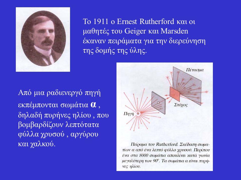 To 1911 ο Ernest Rutherford και οι μαθητές του Geiger και Marsden έκαναν πειράματα για την διερεύνηση της δομής της ύλης.