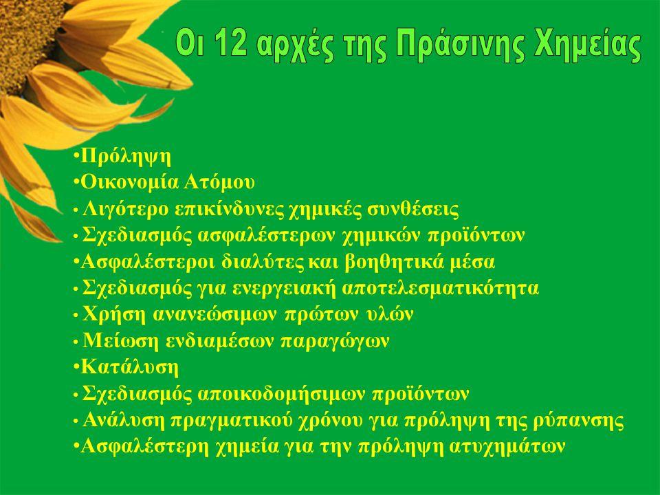 Οι 12 αρχές της Πράσινης Χημείας
