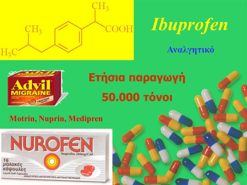 Ibuprofen Ετήσια παραγωγή 50.000 τόνοι Αναλγητικό