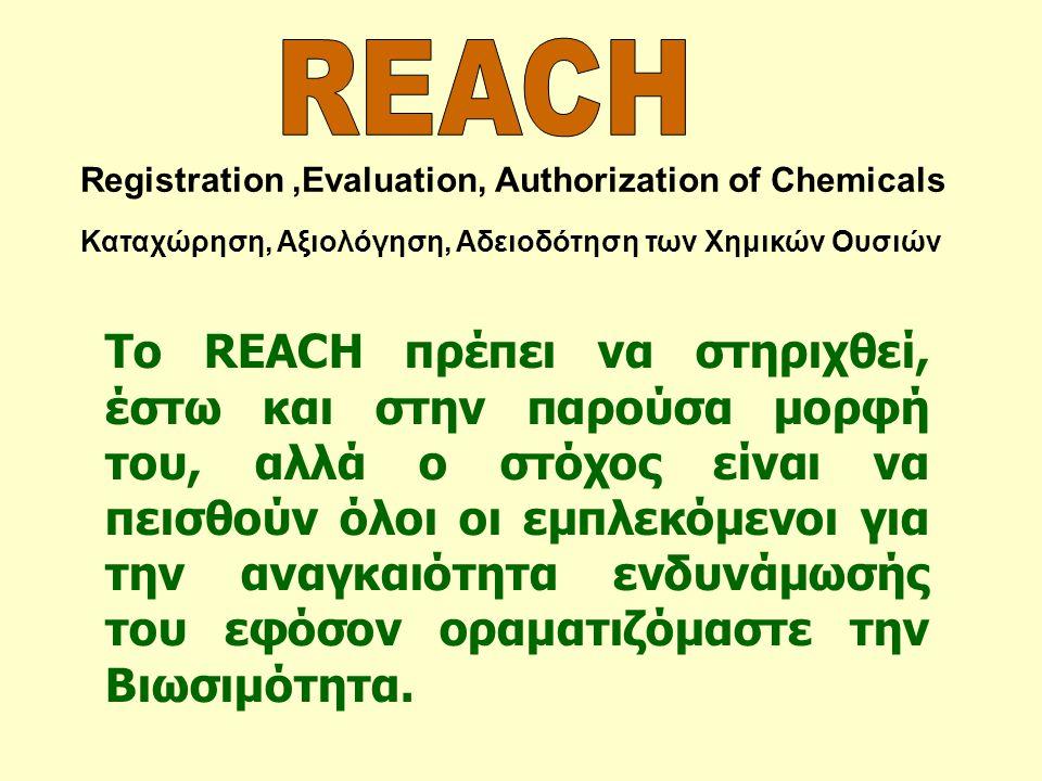 REACH Registration ,Evaluation, Authorization of Chemicals. Καταχώρηση, Αξιολόγηση, Αδειοδότηση των Χημικών Ουσιών.