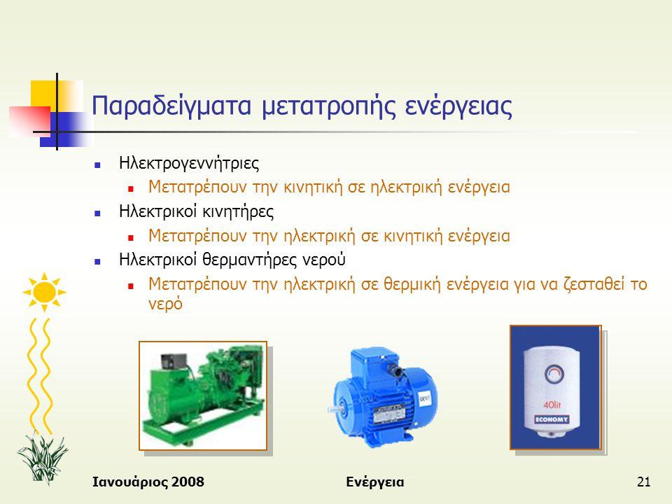 Παραδείγματα μετατροπής ενέργειας