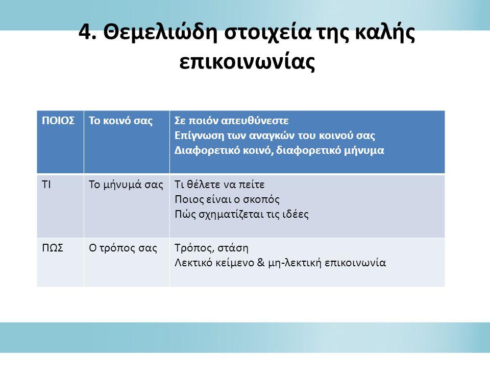 4. Θεμελιώδη στοιχεία της καλής επικοινωνίας