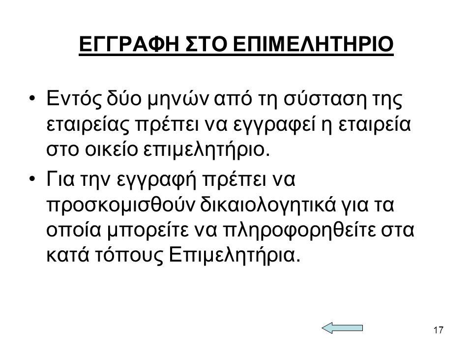 ΕΓΓΡΑΦΗ ΣΤΟ ΕΠΙΜΕΛΗΤΗΡΙΟ