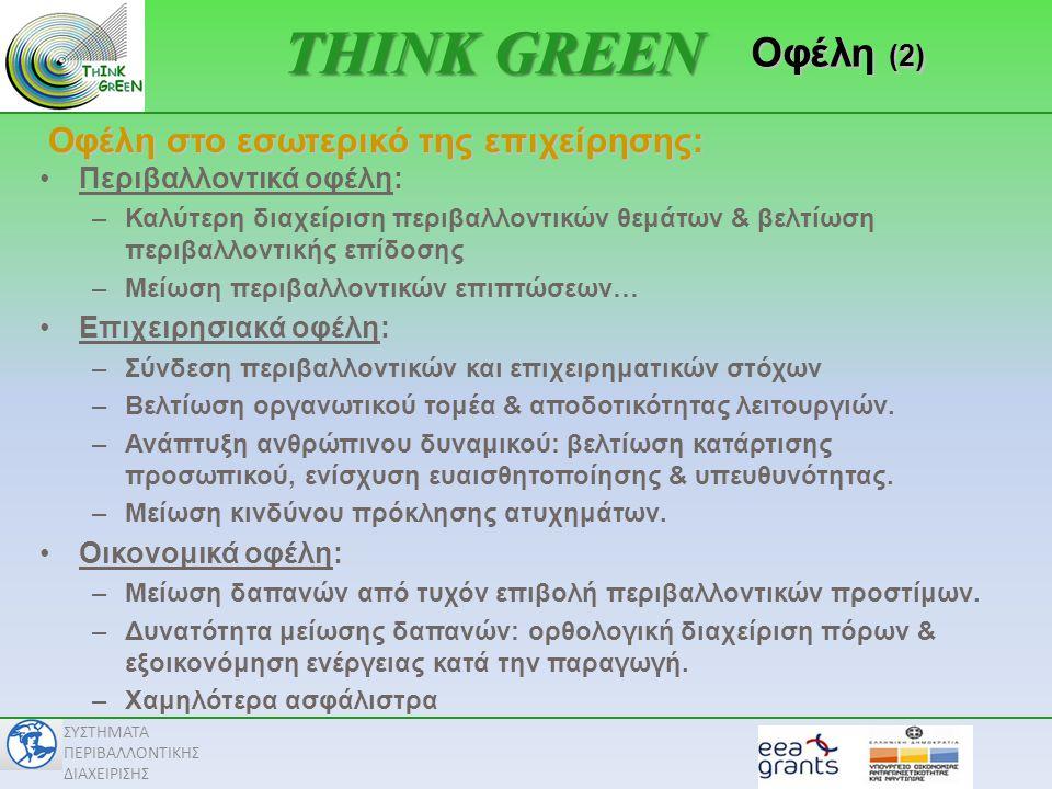 THINK GREEN Οφέλη (2) Οφέλη στο εσωτερικό της επιχείρησης: