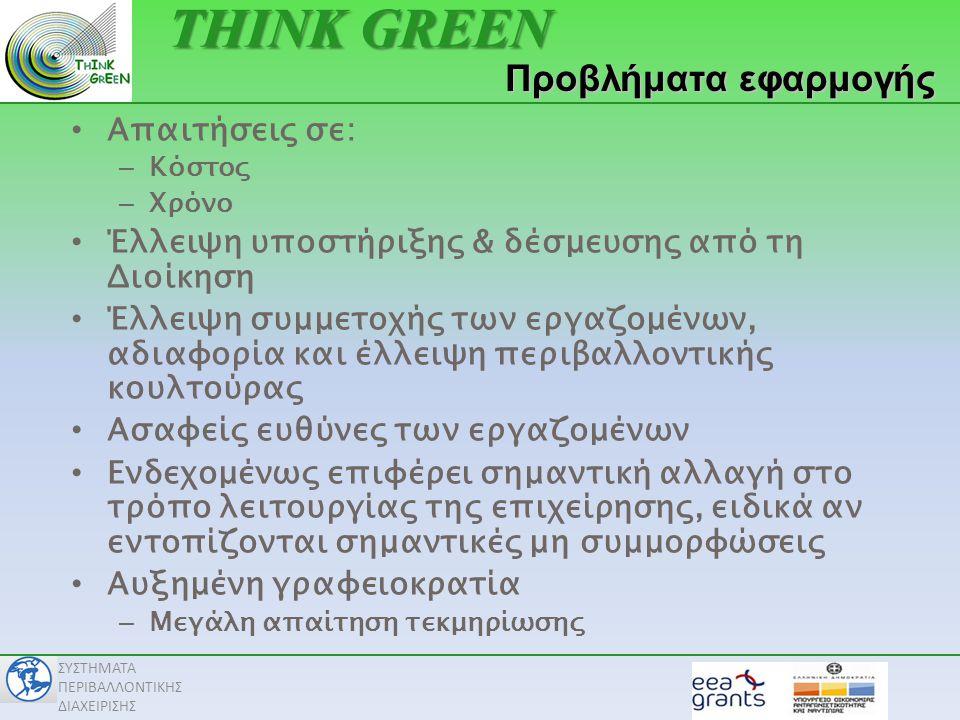 THINK GREEN Προβλήματα εφαρμογής Απαιτήσεις σε: