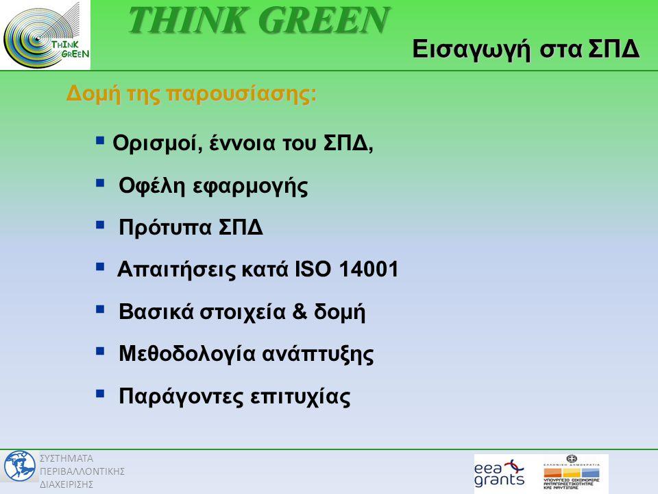 THINK GREEN Εισαγωγή στα ΣΠΔ Δομή της παρουσίασης: