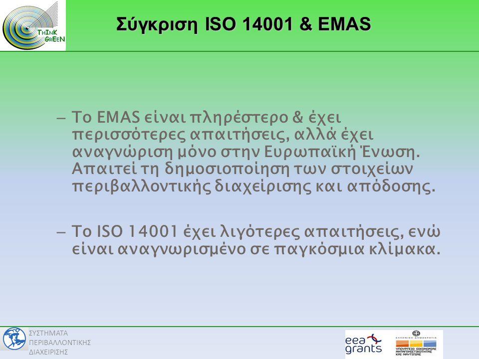 Σύγκριση ISO 14001 & EMAS