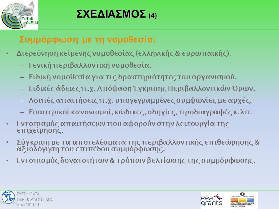 ΣΧΕΔΙΑΣΜΟΣ (4) Συμμόρφωση με τη νομοθεσία: