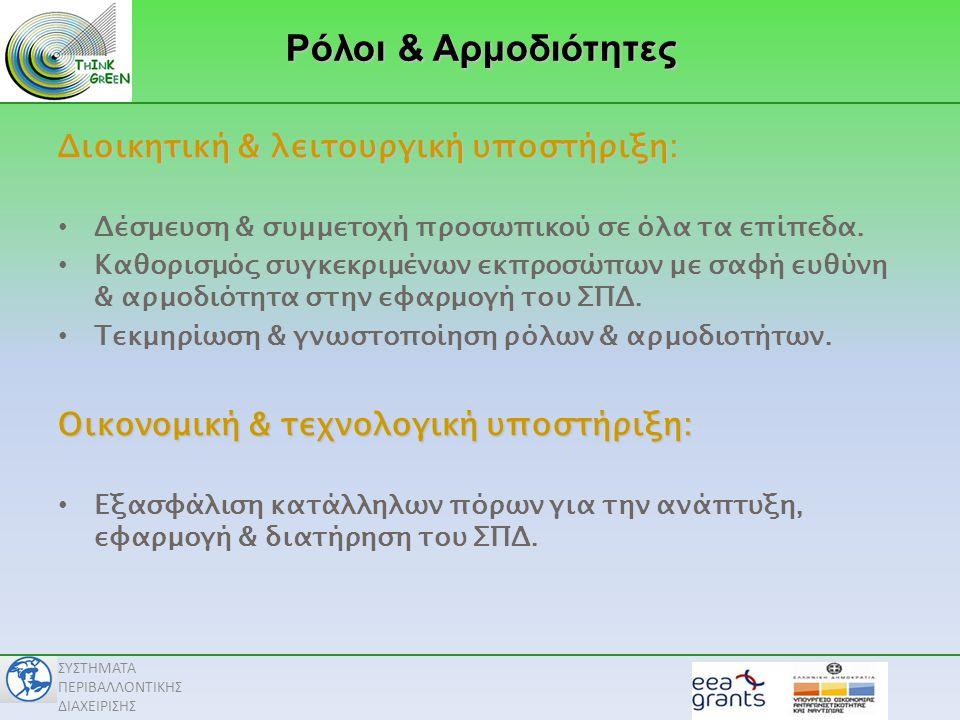 Ρόλοι & Αρμοδιότητες Διοικητική & λειτουργική υποστήριξη: