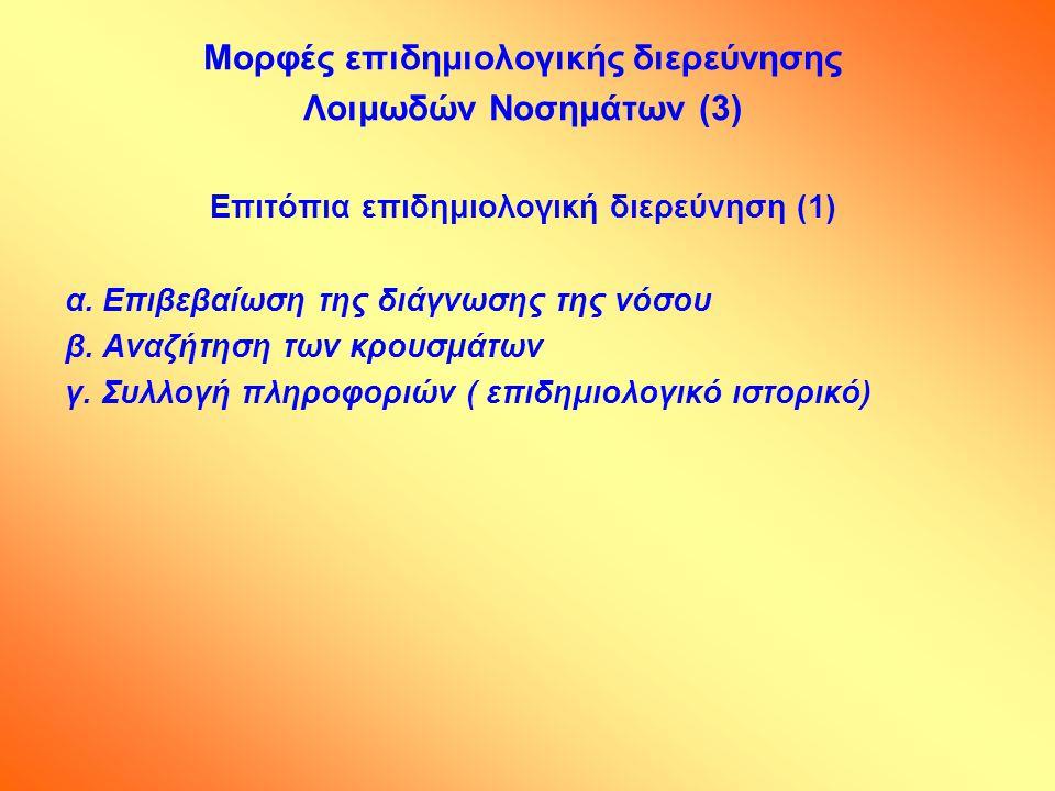 Μορφές επιδημιολογικής διερεύνησης Λοιμωδών Νοσημάτων (3)