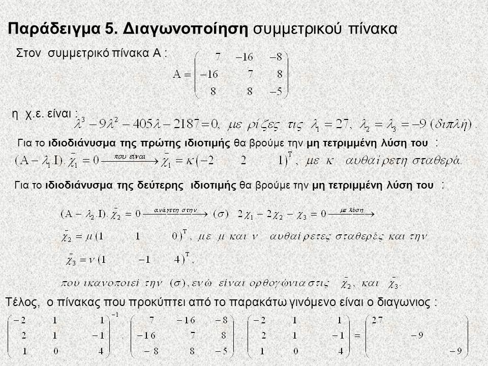 Παράδειγμα 5. Διαγωνοποίηση συμμετρικού πίνακα