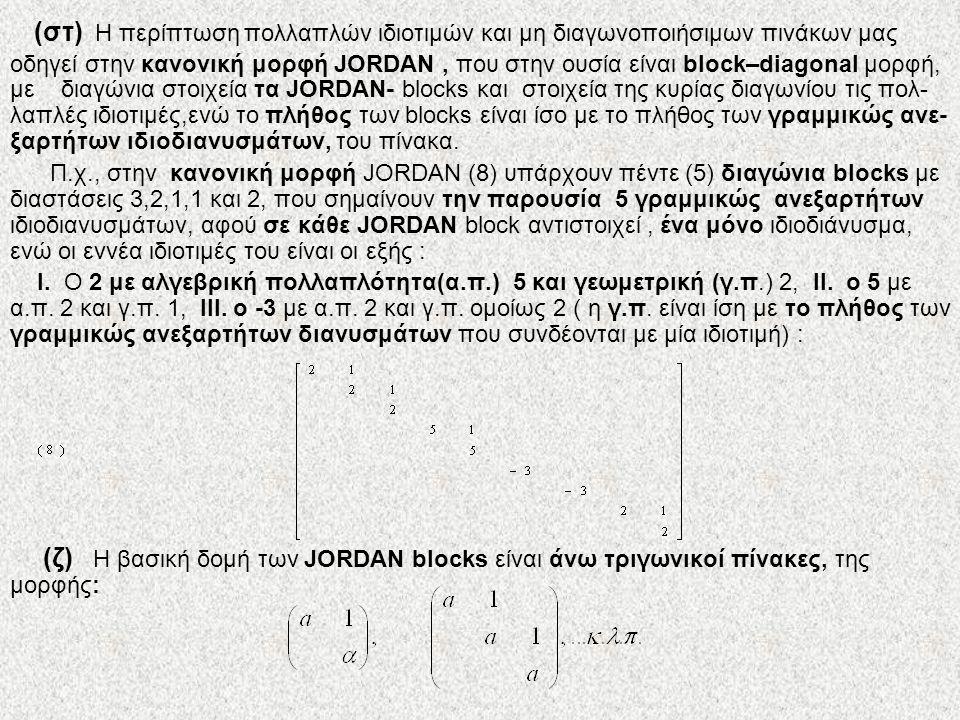 (στ) Η περίπτωση πολλαπλών ιδιοτιμών και μη διαγωνοποιήσιμων πινάκων μας οδηγεί στην κανονική μορφή JORDAN , που στην ουσία είναι block–diagonal μορφή, με διαγώνια στοιχεία τα JORDAN- blocks και στοιχεία της κυρίας διαγωνίου τις πολ-λαπλές ιδιοτιμές,ενώ το πλήθος των blocks είναι ίσο με το πλήθος των γραμμικώς ανε-ξαρτήτων ιδιοδιανυσμάτων, του πίνακα.