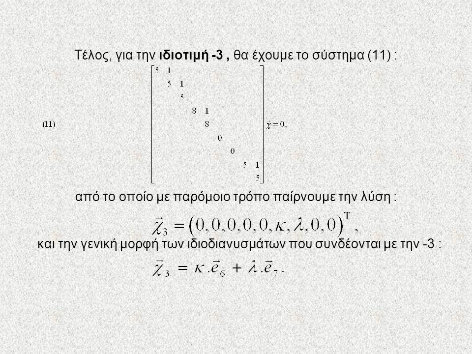 Τέλος, για την ιδιοτιμή -3 , θα έχουμε το σύστημα (11) : από το οποίο με παρόμοιο τρόπο παίρνουμε την λύση : και την γενική μορφή των ιδιοδιανυσμάτων που συνδέονται με την -3 :