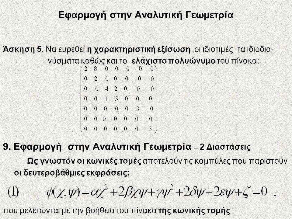 Εφαρμογή στην Αναλυτική Γεωμετρία
