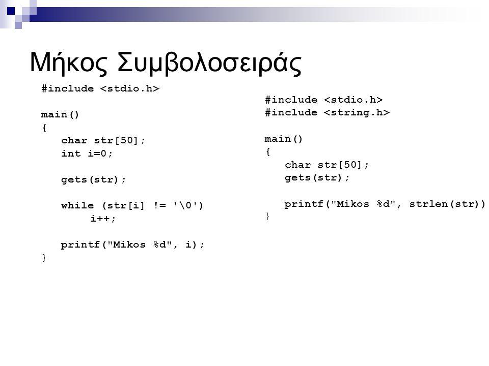 Μήκος Συμβολοσειράς #include <stdio.h> #include <stdio.h>