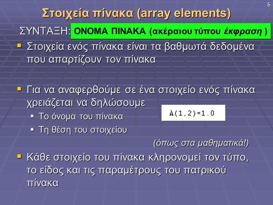 Στοιχεία πίνακα (array elements)