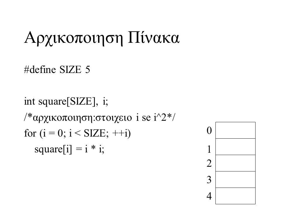 Αρχικοποιηση Πίνακα /*αρχικοποιηση:στοιχειο i se i^2*/ #define SIZE 5