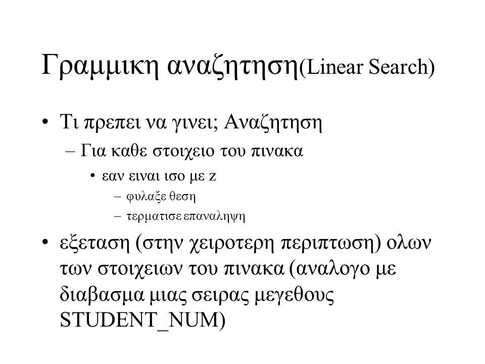 Γραμμικη αναζητηση(Linear Search)