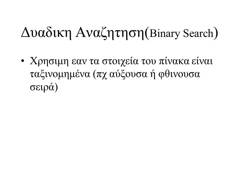 Δυαδικη Αναζητηση(Binary Search)