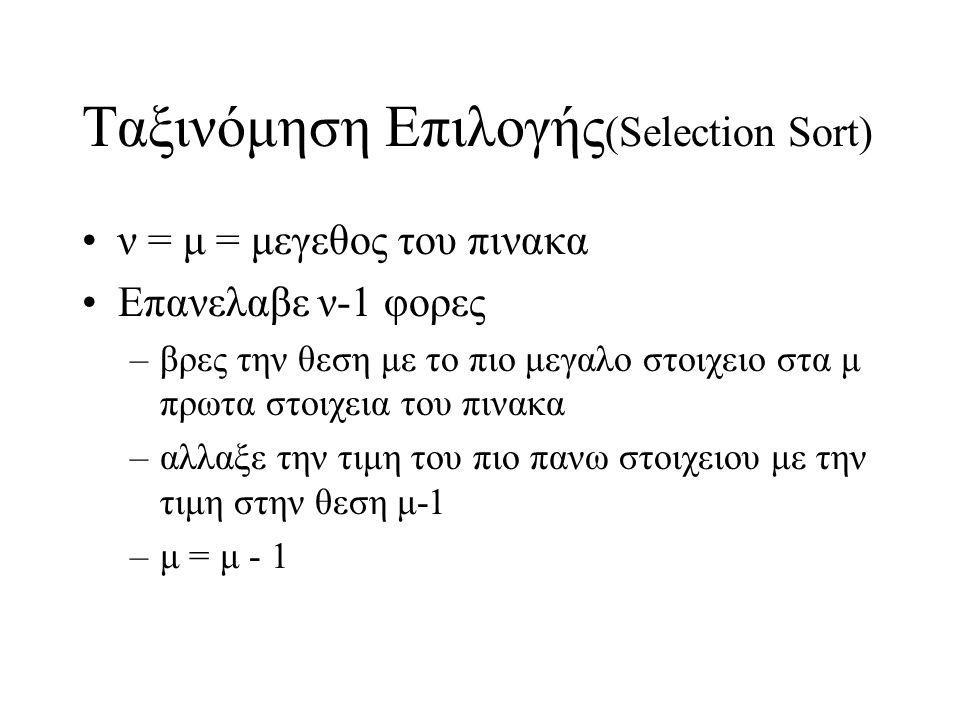 Ταξινόμηση Επιλογής(Selection Sort)