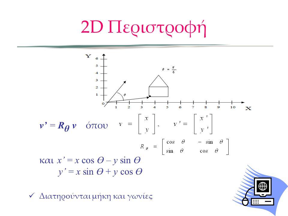 2D Περιστροφή v' = Rθ v όπου και x' = x cos Ө – y sin Ө
