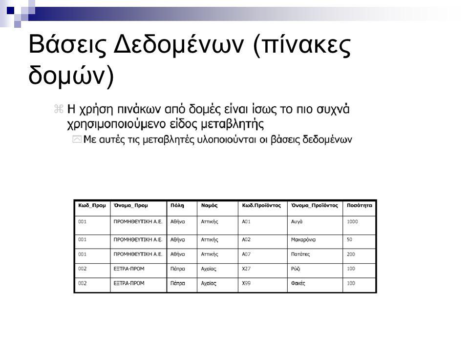 Βάσεις Δεδομένων (πίνακες δομών)