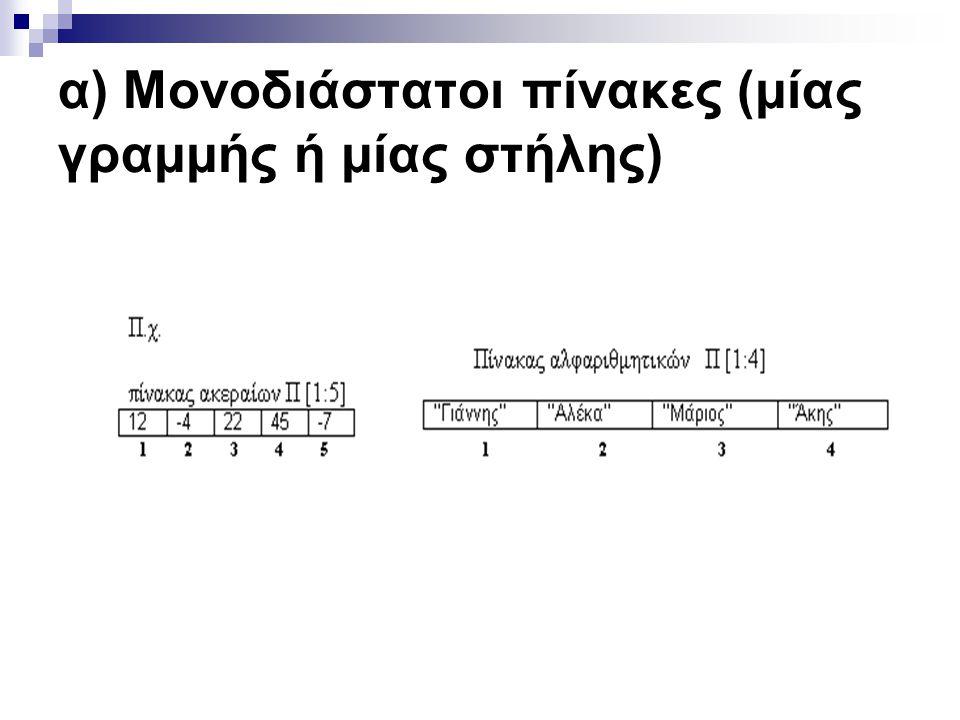 α) Μονοδιάστατοι πίνακες (μίας γραμμής ή μίας στήλης)
