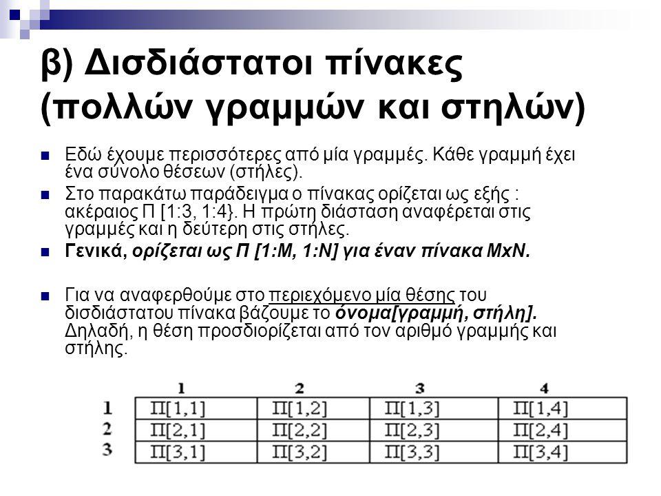 β) Δισδιάστατοι πίνακες (πολλών γραμμών και στηλών)