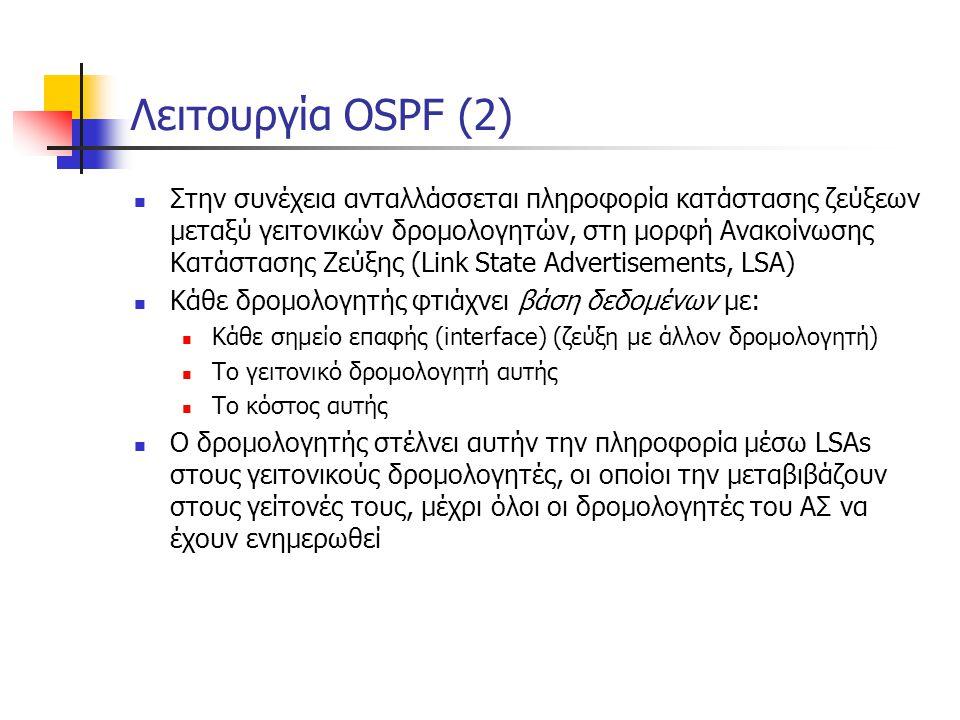 Λειτουργία OSPF (2)