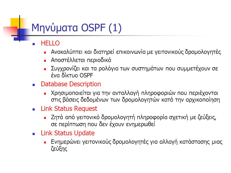 Μηνύματα OSPF (1) HELLO Database Description Link Status Request