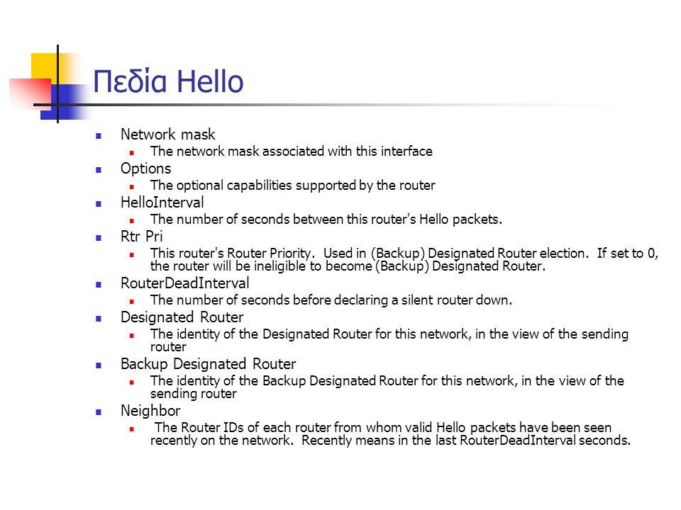 Πεδία Hello Network mask Options HelloInterval Rtr Pri
