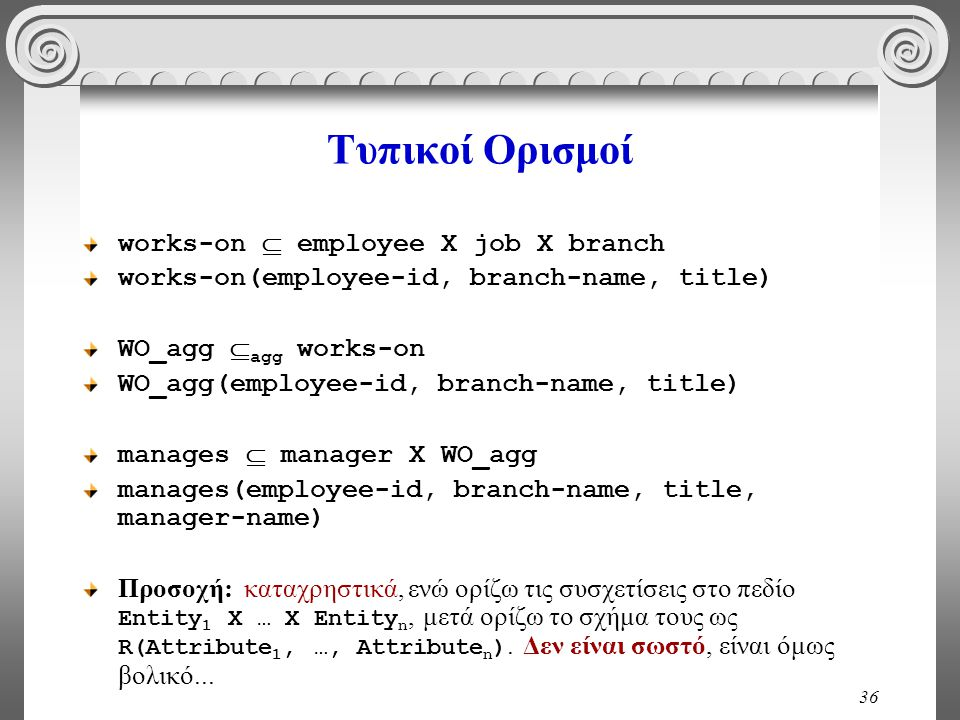 Τυπικοί Ορισμοί works-on  employee X job X branch