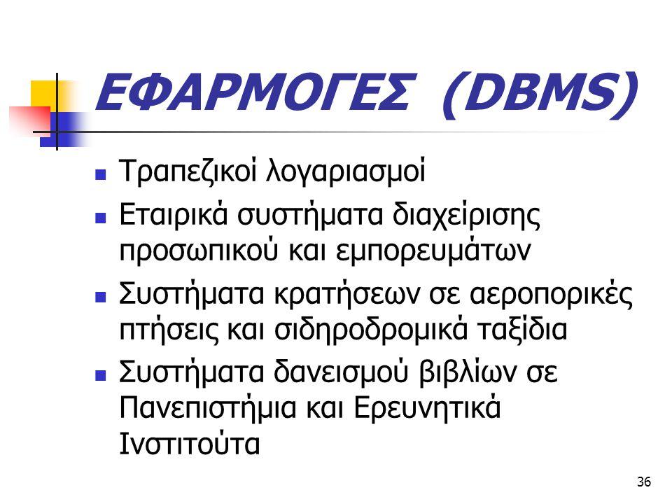 ΕΦΑΡΜΟΓΕΣ (DBMS) Τραπεζικοί λογαριασμοί