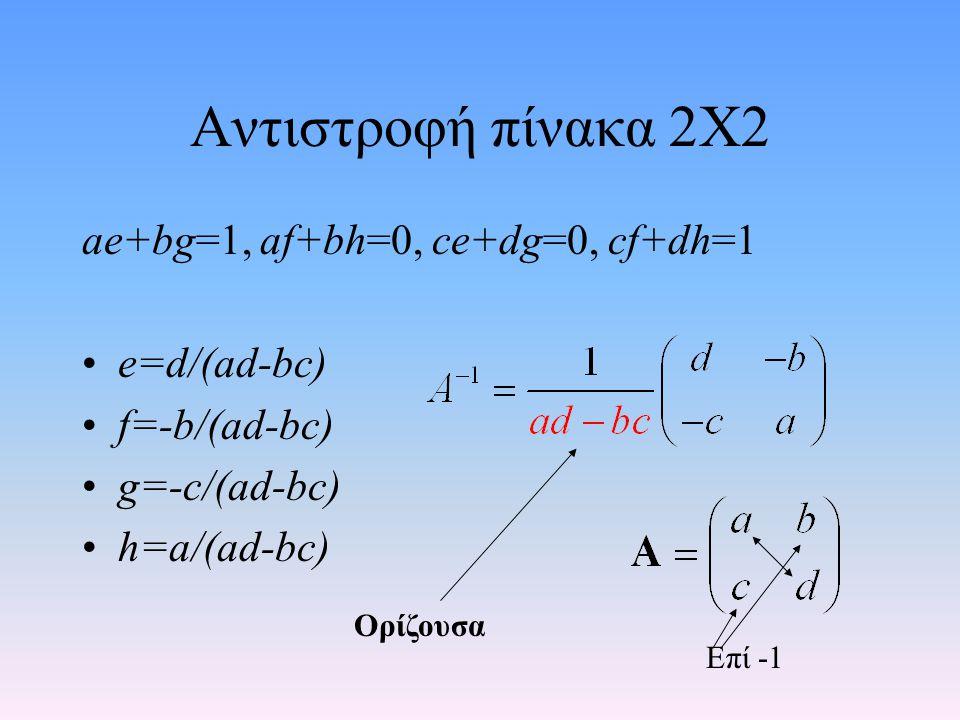 Αντιστροφή πίνακα 2Χ2 ae+bg=1, af+bh=0, ce+dg=0, cf+dh=1 e=d/(ad-bc)