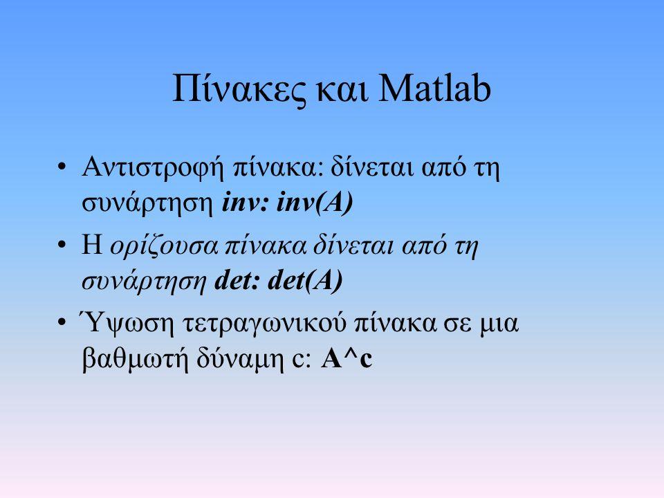 Πίνακες και Matlab Αντιστροφή πίνακα: δίνεται από τη συνάρτηση inv: inv(A) Η ορίζουσα πίνακα δίνεται από τη συνάρτηση det: det(A)