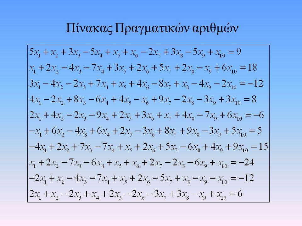 Πίνακας Πραγματικών αριθμών